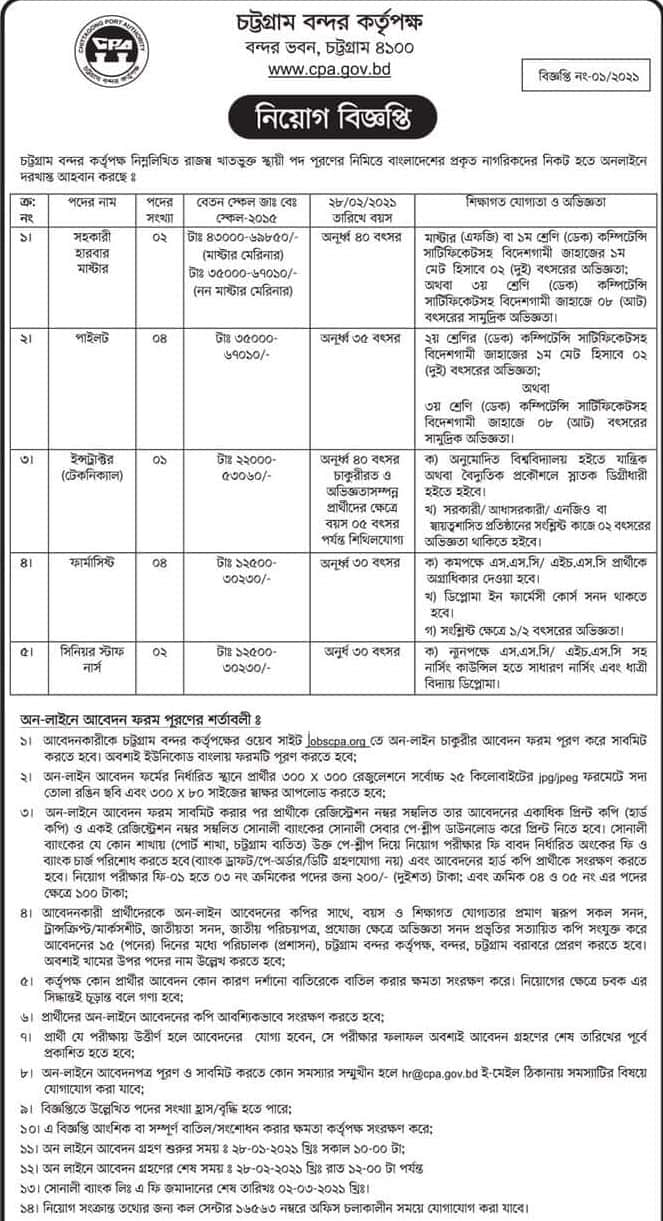 Chittagong Port Authority Jobs